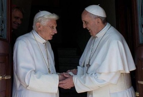 Pope_Francis_welcomes_Benedict_XVI_back_to_the_Vatican_at_Mater_Ecclesia_monastery_on_May_2_2013_Credit_LOssevatore_Romano_ANSA_3_CNA_5_6_13